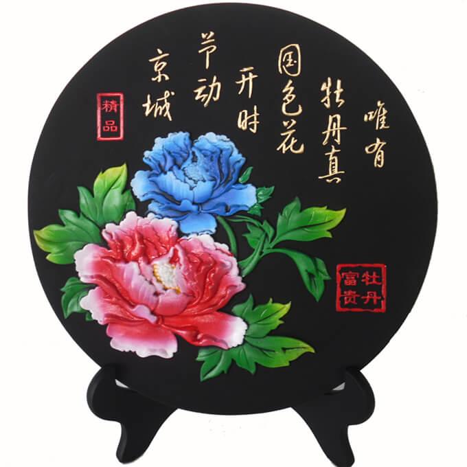 金福牡丹炭雕